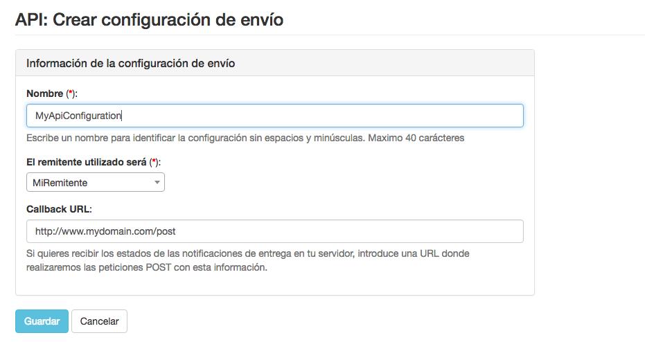 Ejemplo configuraciones de envío para la API de INNOVA360