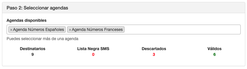 Seleccionar agendas para envío masivo SMS sin ruta de envío - INNOVA360