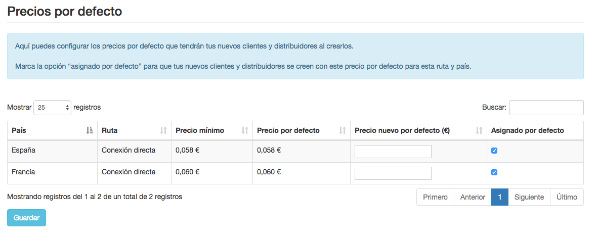 Distribuidores - Asignar precios por defecto - INNOVA360