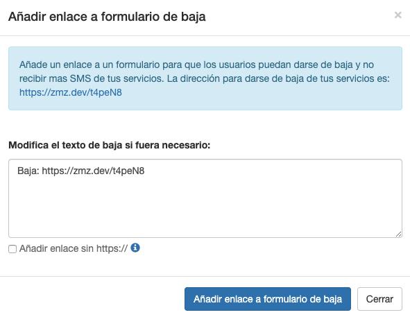 Ejemplo Añadir Formulario Baja Servicios SMS en tus envíos - INNOVA360