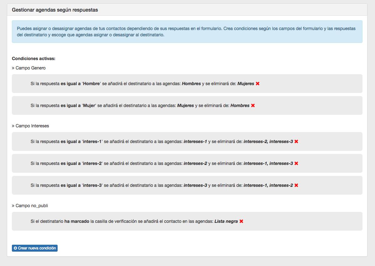 Gestionar agendas de contactos según respuestas del Formulario - INNOVA360