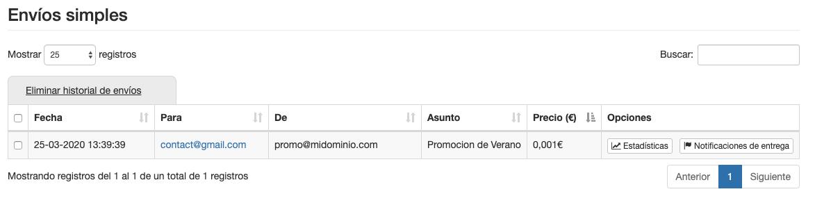Consulta los envíos simples de email - INNOVA360