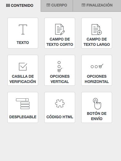 Tipos de elementos de formulario disponibles para Formularios - INNOVA360