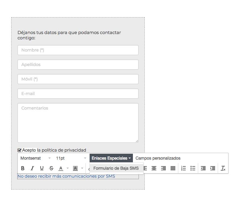 Ejemplo añadir enlace de baja SMS en Formulario - INNOVA360